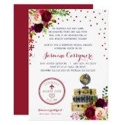 Burgundy Floral Travel Bridal Shower Invitation