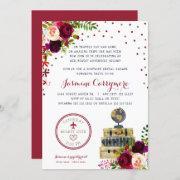 Burgundy Floral Travel Bridal Shower Invitation