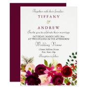 Burgundy Flowers Floral Elegant Wedding
