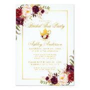 Burgundy Gold Bridal Shower Tea Party Invite