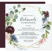 Burgundy Gold Bridesmaids Luncheon Shower Invitation