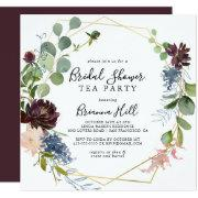 Burgundy Gold Geometric Bridal Shower Tea Party Invitation