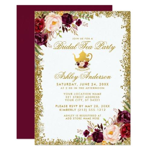 Burgundy Gold Glitter Bridal Tea Party Invite B