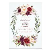 Burgundy - Marsala Floral Wreath Bridal Shower Invitations