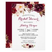 Burgundy Marsala Red Floral Autumn Bridal Shower