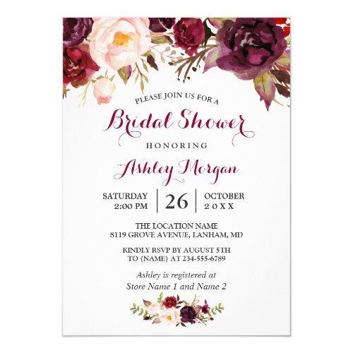 Burgundy Marsala Red Floral Autumn Bridal Shower Invitations