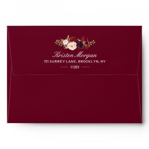 Burgundy Marsala Wine Red Floral & Return Address Envelope