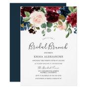 Burgundy Red Wine Floral Bridal Brunch Invite