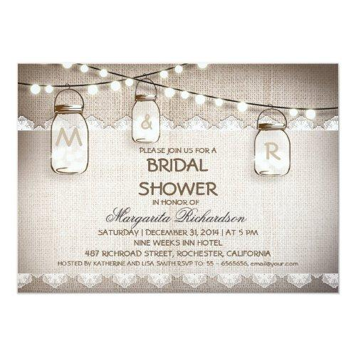 Burlap And Mason Jars Bridal Shower Invitations