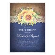 Burlap Lace Sunflower Navy Rustic Bridal Shower Invitation