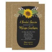 Burlap Sunflower Chalk Mason Jar Bridal Shower Invitations