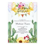 Cactus And Floral Bridal Shower Fiesta Invitations