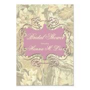 Camo Elegant Pink Bridal Shower Invitation