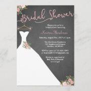 Chalkboard Bridal Shower Invitations With Dress