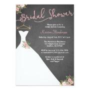 Chalkboard Bridal Shower Invitations With Dress