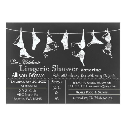Chalkboard Lingerie Shower Invitatio