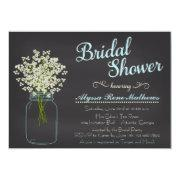 Chalkboard Mason Jar Bridal's Breath Bridal Shower