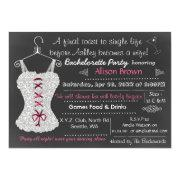 Chalkboard pink Lace Lingerie Shower Bachelorette Custom Invite