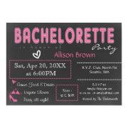 Chalkboard pink Lingerie Shower Bachelorette Announcements