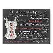Chalkboard red Lace Lingerie Shower Bachelorette Custom Invite