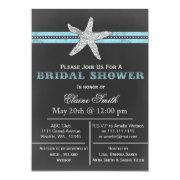 Chalkboard Starfish Beach Bridal Shower Invite