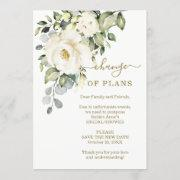 Change Of Plans Floral Bridal Shower Postponed Invitation
