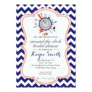 Chevron Around The Clock Bridal Shower Invitation
