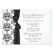 Chic Black & White Damask Bridal Shower Invitation