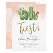 Chic Blush Watercolor Cactus Fiesta Bridal Shower Invitation