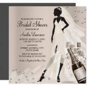 Chic Bride & Sparkle Diamond Bridal Shower 2 Invitation