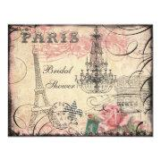 Chic Eiffel Tower & Chandelier Bridal Shower Invitations