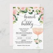 Chic Glass Brunch Bubbly Bridal Shower Invitation