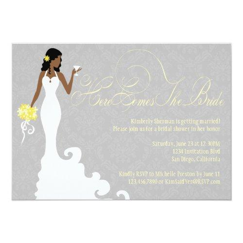 Chic Grey Yellow Here Comes The Bride Shower Invitations