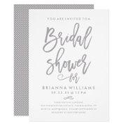 Chic Hand Lettered Wedding Bridal Shower Silver