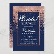 Chic Navy Rose Gold Glitter Confetti Bridal Shower Invitation
