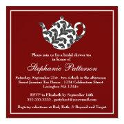 Chic Red & White W Damask Bridal Shower Tea Party