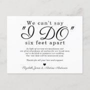 Chic Six Feet Apart Postponed Change Date Wedding Announcement Postinvitations
