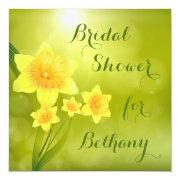 Chic Spring Daffodils Bokeh Bridal Shower