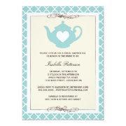 Chic Tan & Teal Teapot Bridal Shower Tea Party
