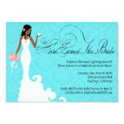 Chic Teal Black Coral Damask Here Comes The Bride Invitation