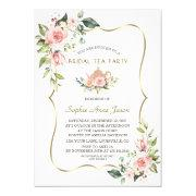Chic Watercolor Blush Floral Gold Bridal Tea Party Invitation