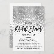 Chic White Silver Glitter Confetti Bridal Shower Invitation