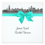 Chicago Skyline Etched Bw Aqua Sq Bridal Shower S