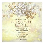 Christmas Elegant Gold Snowflakes Bridal Shower