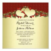 Christmas Gold Hearts Red Bridal Shower