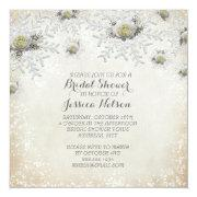 Christmas Gold Roses Snowflakes Bridal Shower Announcements