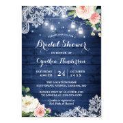 Classic Blue Mason Jar Lights Floral Bridal Shower Invitation