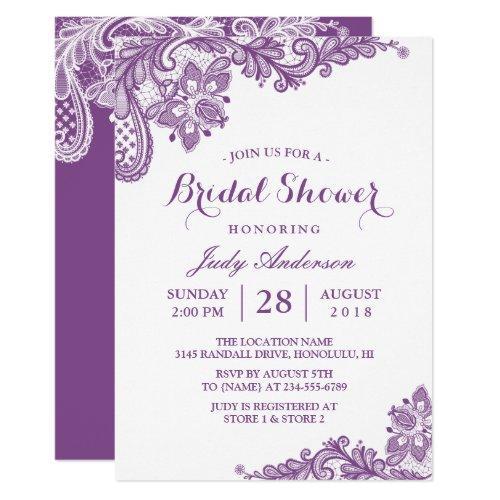 Classy Lavender Purple Modern Lace Bridal Shower