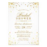 Classy Trendy Gold Confetti Dots Bridal Shower