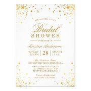 Classy Trendy Gold Confetti Dots Bridal Shower Invitation